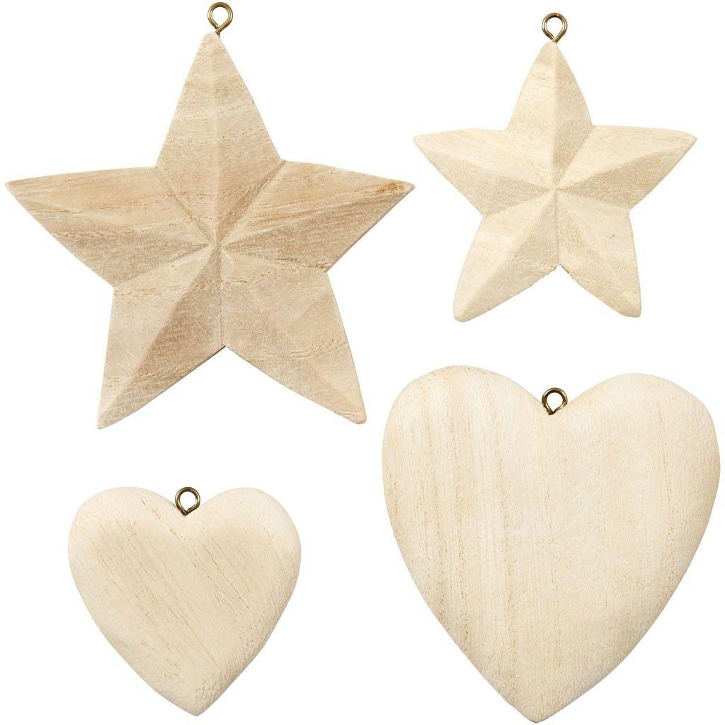 Holz Herzen/Sterne zum Anhängen 4 Stück