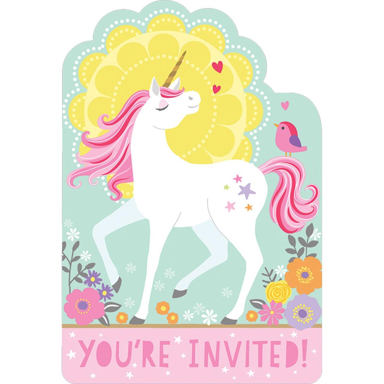 Party- Einladungskarten Magisches Einhorn 8 Stück mit Umschl