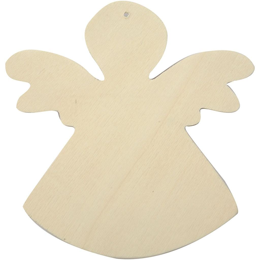 Bastelmaterial Deko-Engel 6 Stück aus  Kiefernholz natur