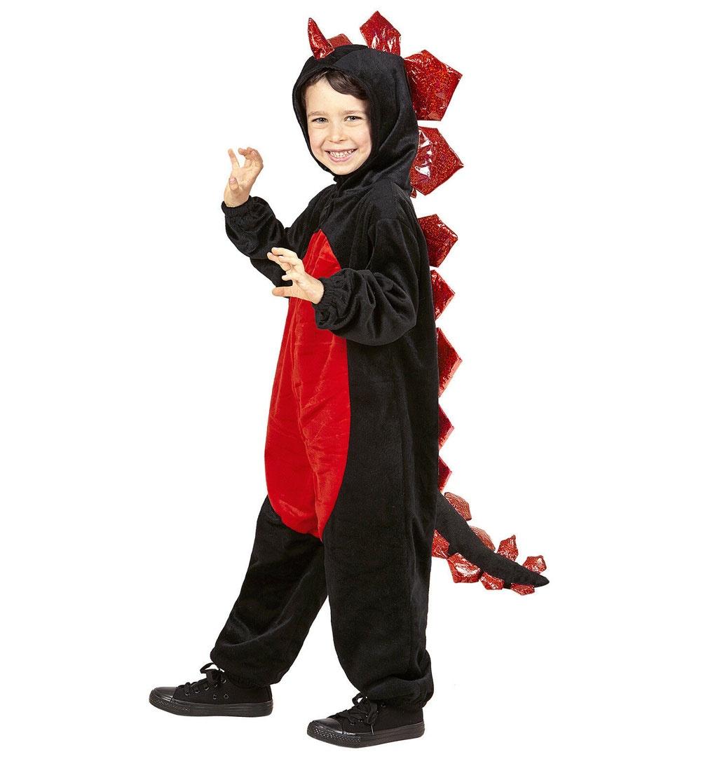 Kostüm Schwarzer Drache aus Plüsch (Overall mit Kapuze)