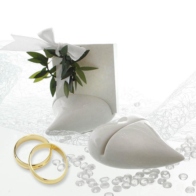 Kartenhalter Herzform 2er Satz weiß für die Hochzeit