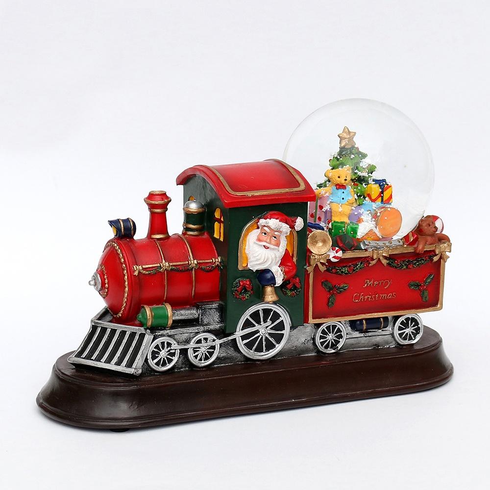 Schneekugel Eisenbahn mit Musikwerk und Glitterwirbel