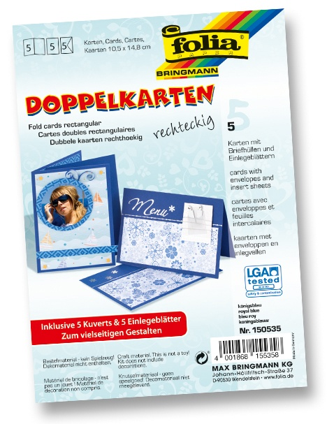 Folia Doppelkarten mit Umschlag königsblau