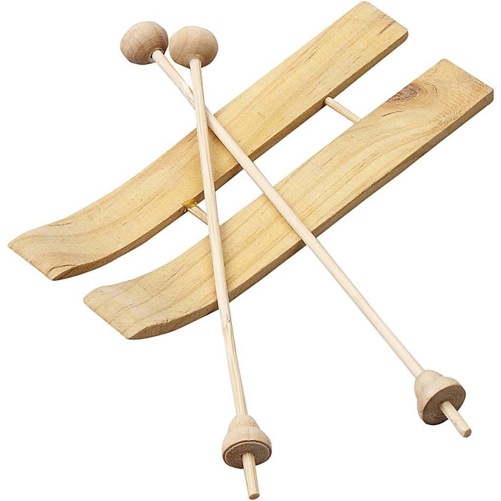 Deko-Ski mit Stöcken 11x3,8 cm Holz