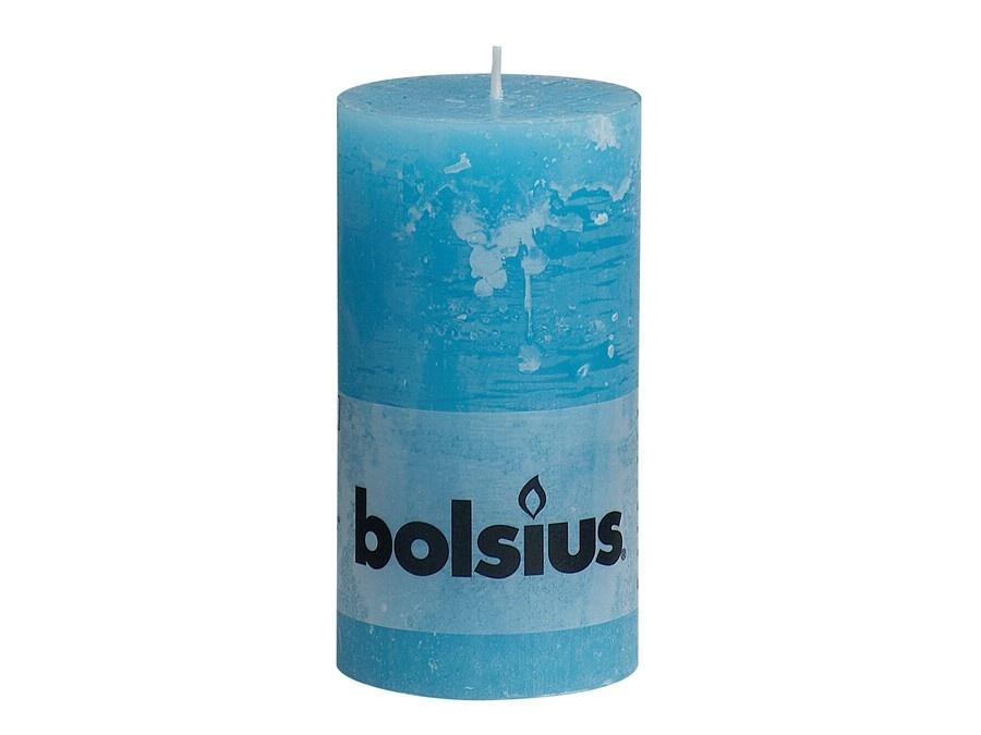Bolsius Rustik Stumpenkerze aqua 130/68 mm