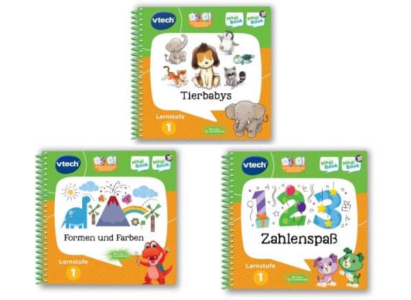 vtech MagiBook 3 Bücher Set Tierbabys 3D, Formen und Farben
