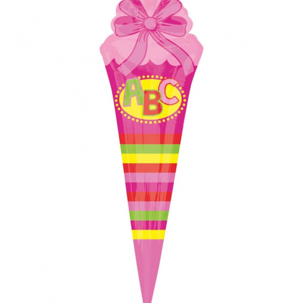 Folienballon ABC Schultüte 25 x 76 cm pink SuperShape