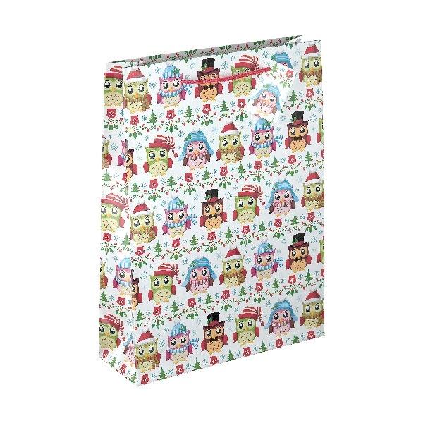 Papiertüte Weihnachtseule 25x8,5x34,5cm