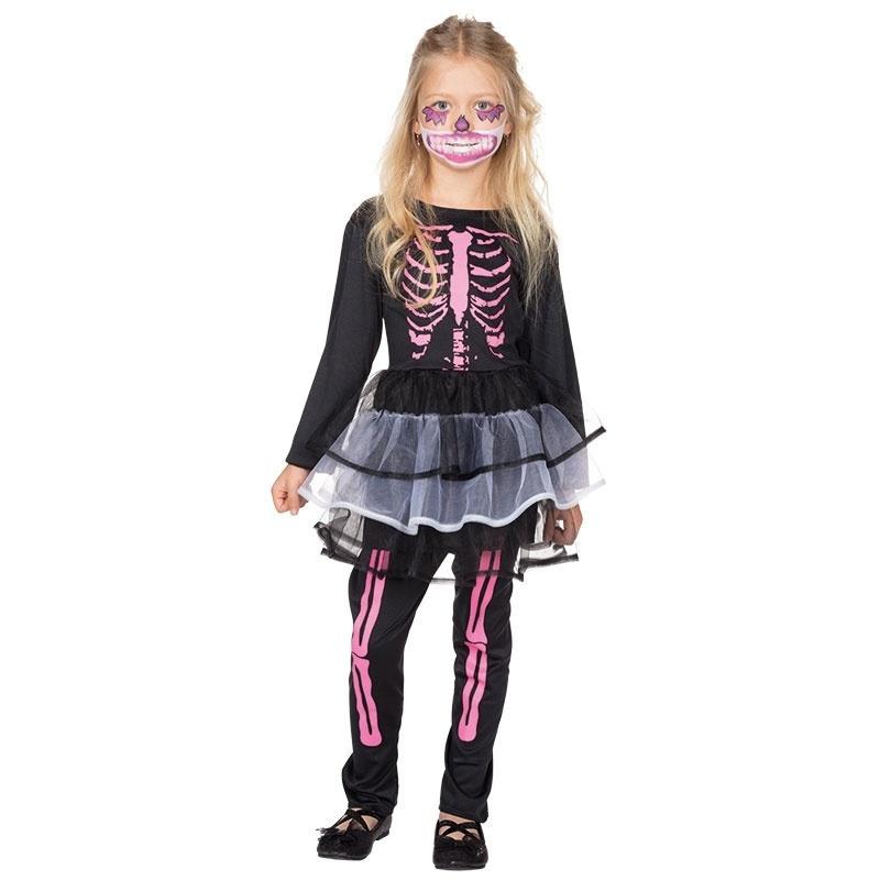 Kostüm Skelett Kleidchen mit Leggins 128