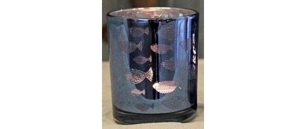 Teelichtglas Maritim-Blau Fische