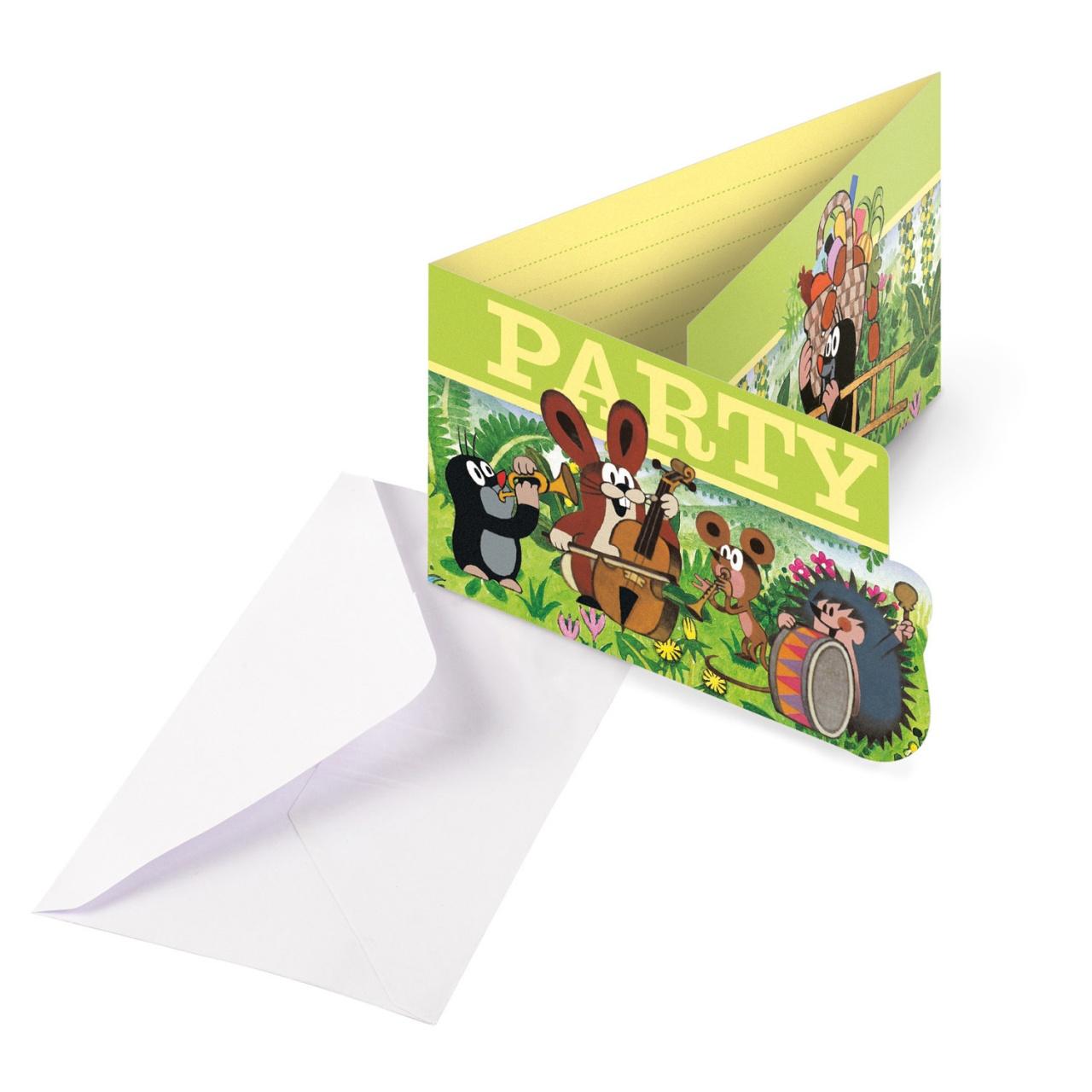 Party-Einladungskarten Der kleine Maulwurf 8 Stück