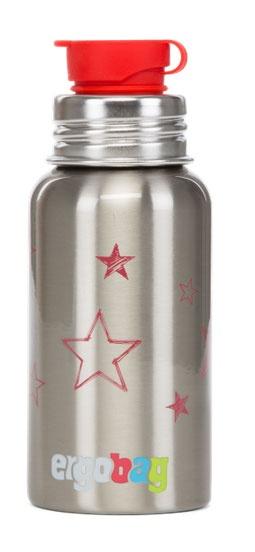 Ergobag Zubehör Trinkflasche Sterne rot, Edelstahl