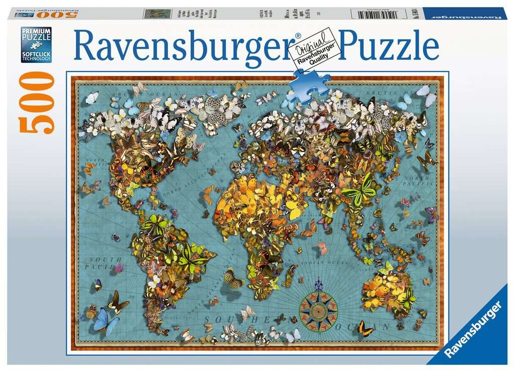 Ravensburger Puzzle Antike Schmetterling-Weltkarte 500 Teile