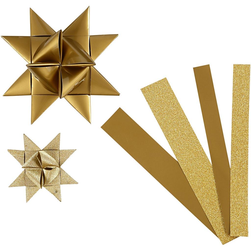 Papierstreifen für Fröbelsterne gold/glitter, 10 Sterne