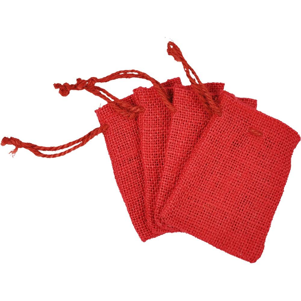 Jutebeutel 6 x 10 cm rot 12 Stück