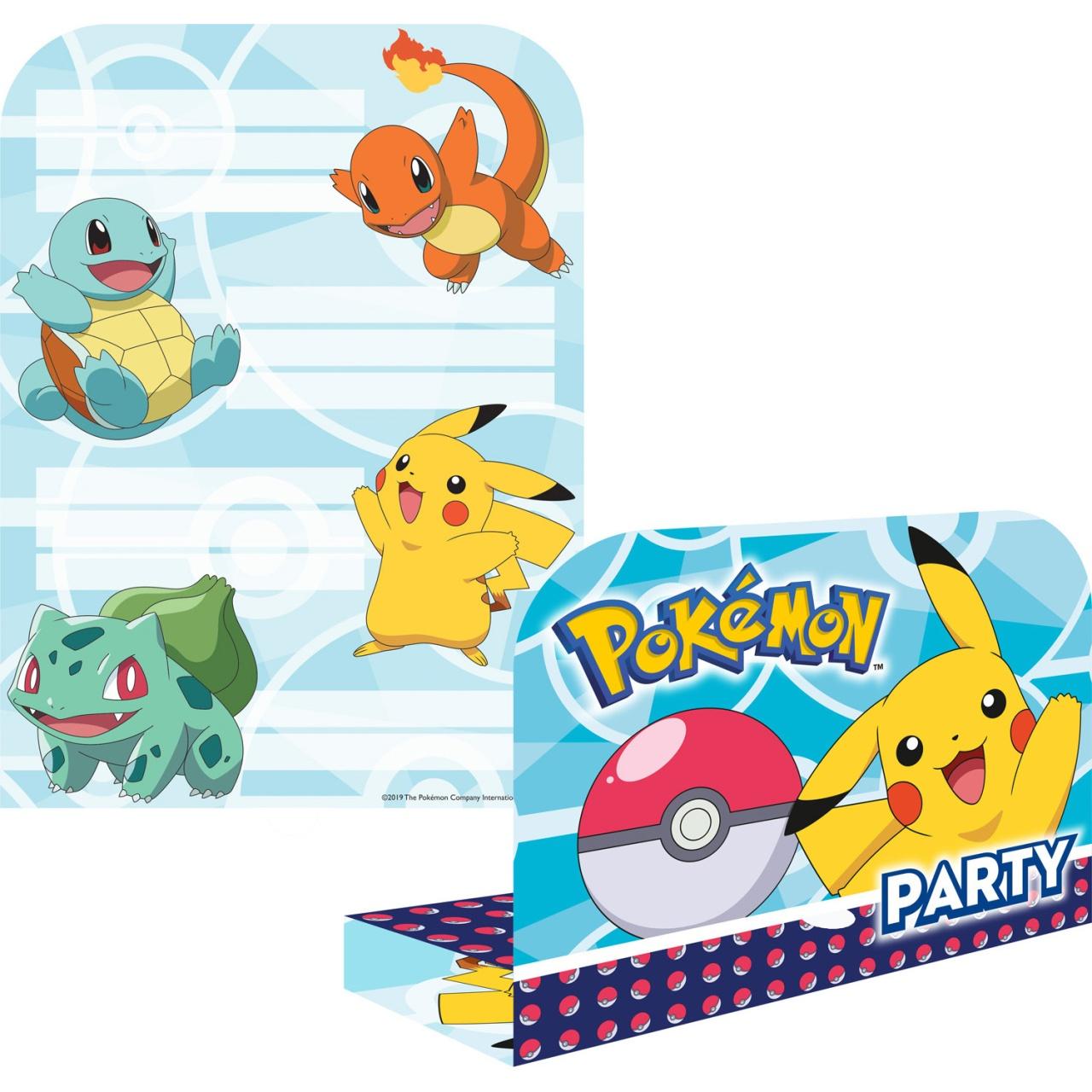 Party-Einladungskarten Pokemon 8 Stück mit Umschlag