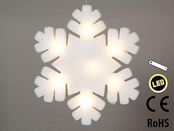 LED-Leucht-Schneeflocke aus Acrylwolle 42 cm
