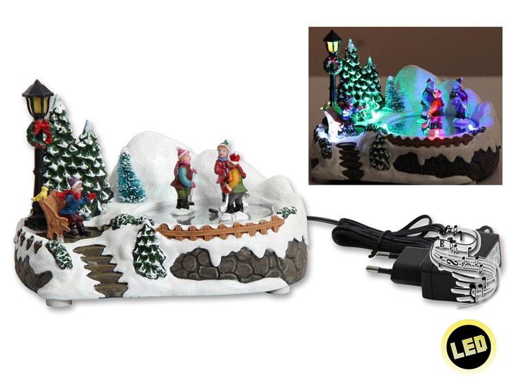 LED-Winterszene Kinder auf Eis mit Musik und Beleuchtung