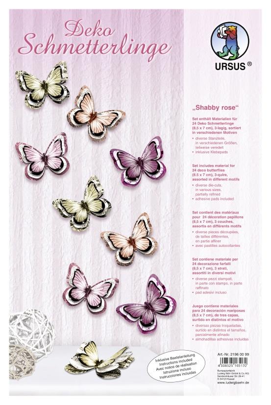 Bastelmappe Deko Schmetterlinge Shabby Rose