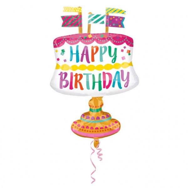 Folienballon Kuchen mit Fähnchen