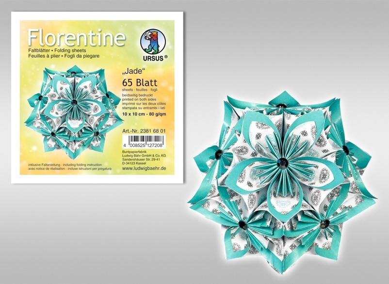Florentine-Faltblätter Jade 10x10cm