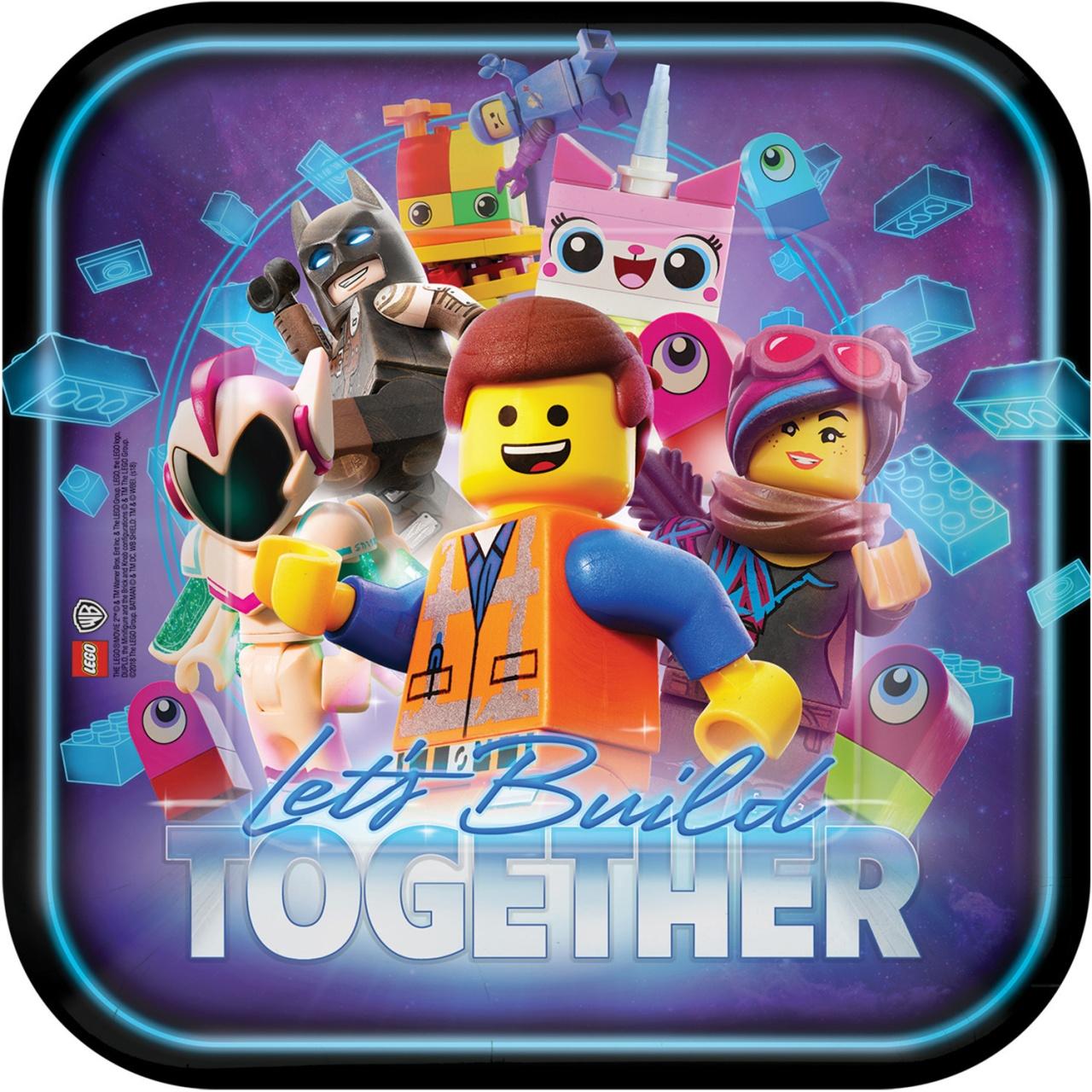 Partyteller Lego Movie 2 8 Stück quadratisch 23 cm