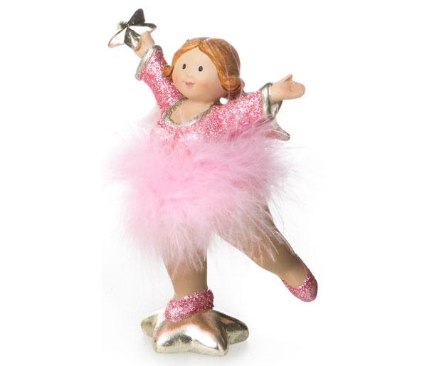 Dekofigur Engel mit rosa Tütü und Glitzer Stern hoch