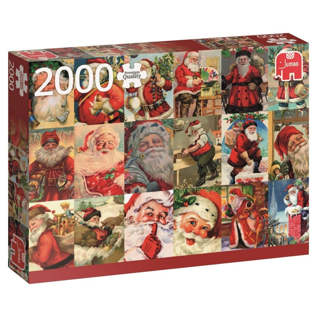 Jumbo Puzzle Weihnachtspuzzle Weihnachtsmänner Vintage