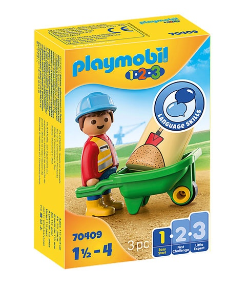 Playmobil 70409 1.2.3 Bauarbeiter mit Schubkarre