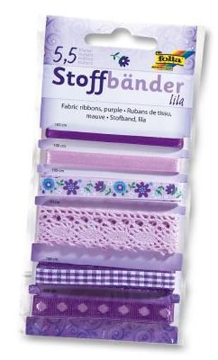 Folia Stoffbänder 6 Stück lila