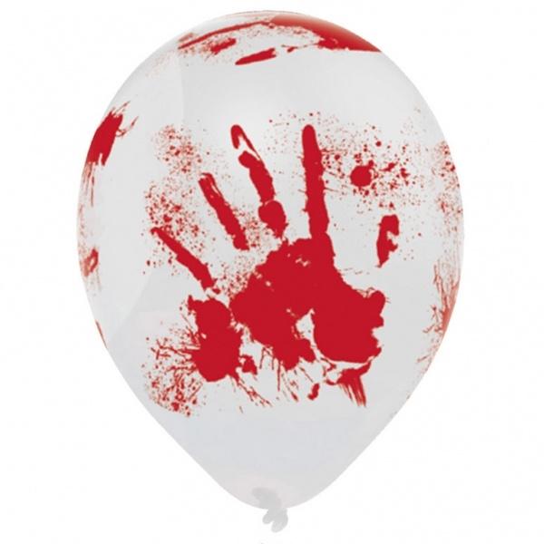 Halloween Luftballons Blutige Hände 6 Stück