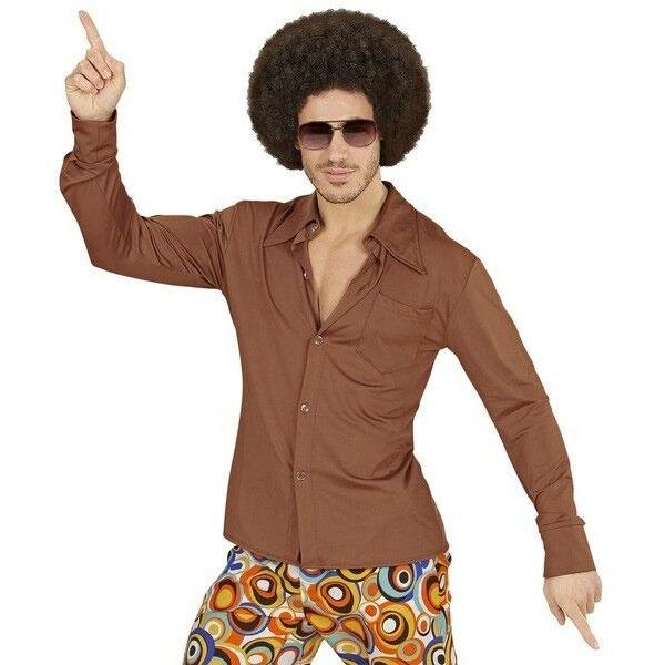 Kostüm-Zubehör 70er Jahre Herrenhemd braun Gr. S/M