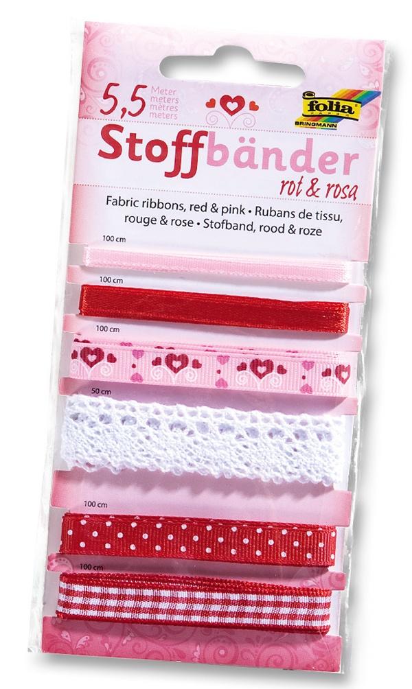 Folia Stoffbänder 6 Stück rot-rosa