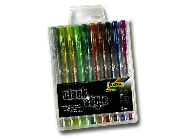 Folia Black Style 10 Glitter-Gelschreiber 1 mm