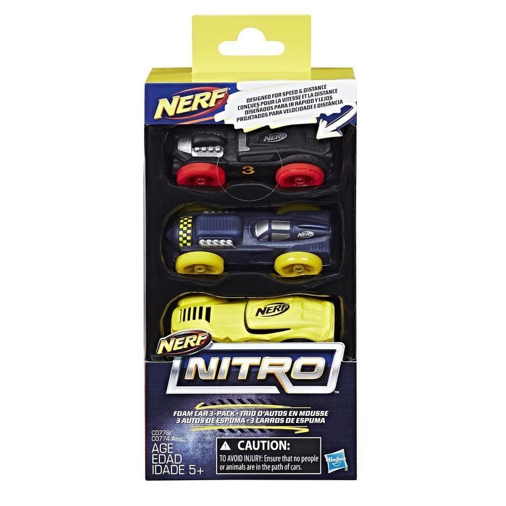 Nerf Nitro Soft Racer 3er Pack schwarz/blau/gelb