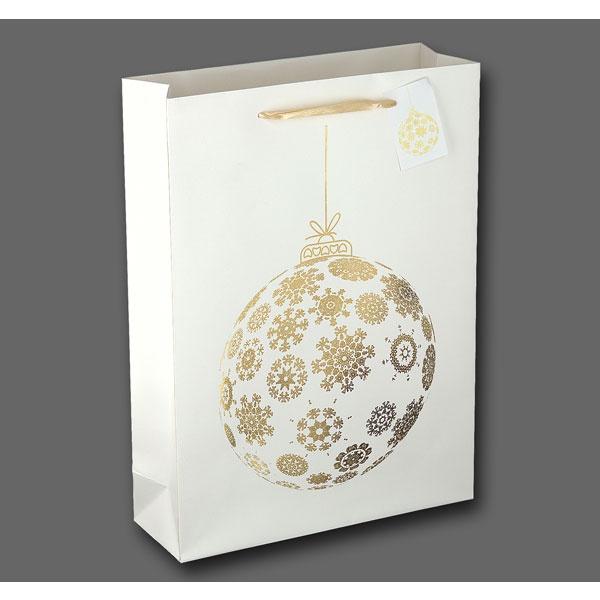 Papiertüte Goldkugel weiß 25x8,5x34,5cm