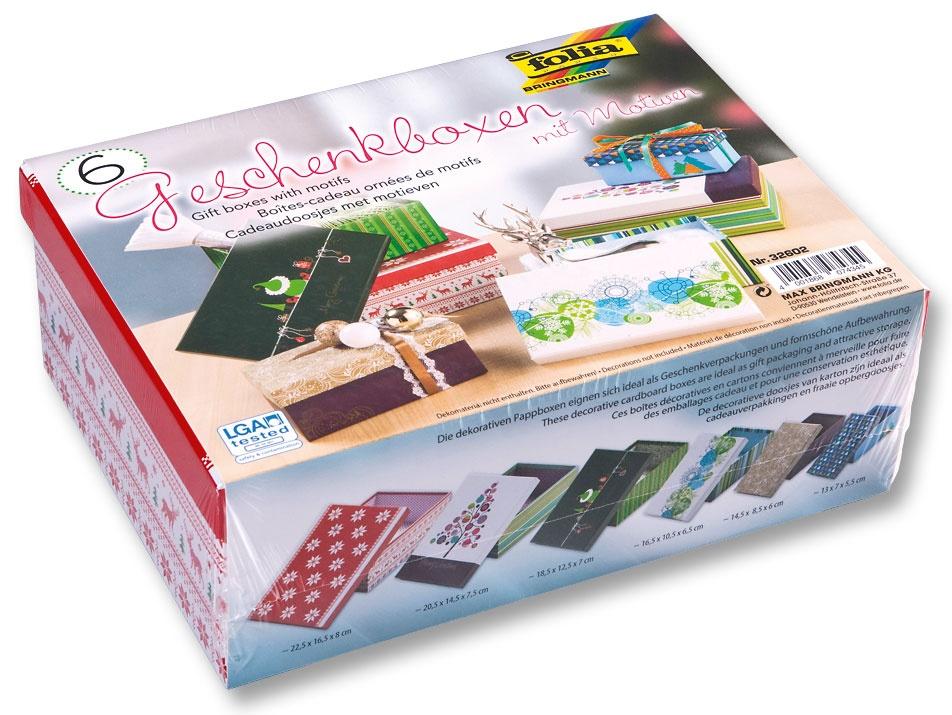 Folia Geschenkboxen mit Motiven Weihnachten 6 Stück
