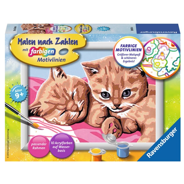 Malen nach Zahlen Kuschelfreunde - 2 schmusende Katzen