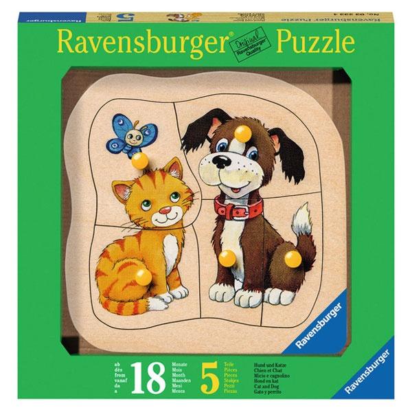 Puzzle Holzpuzzle Hund und Katze 5 Teile