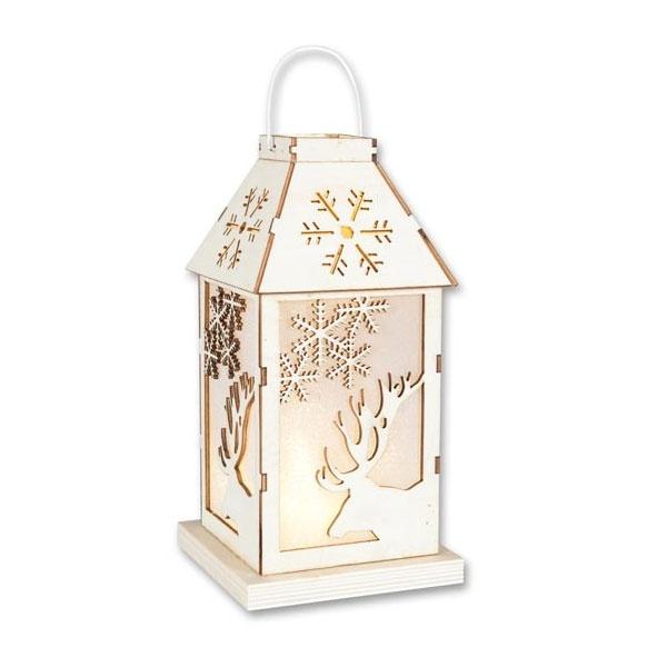 LED-Laterne mit Hirschdesign aus Holz