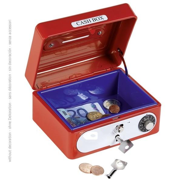 Geldkassette mit Kombinationsschloss rot