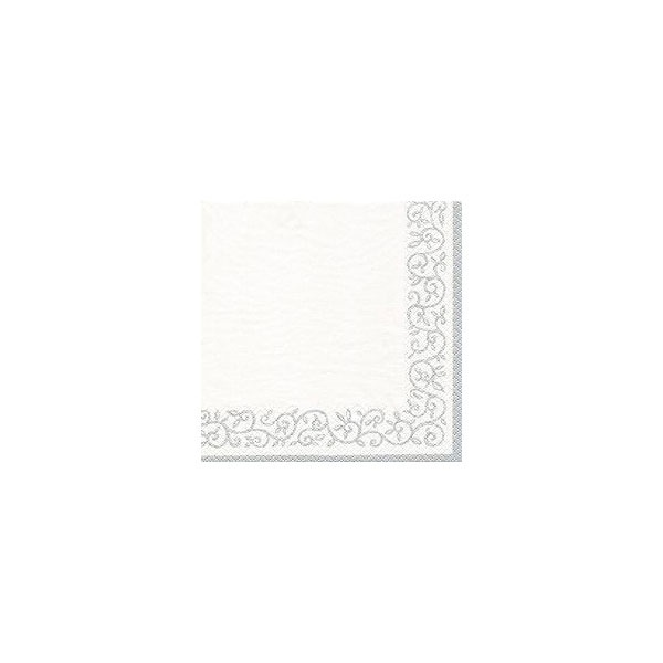 Servietten Romantic Border silver white 33x33