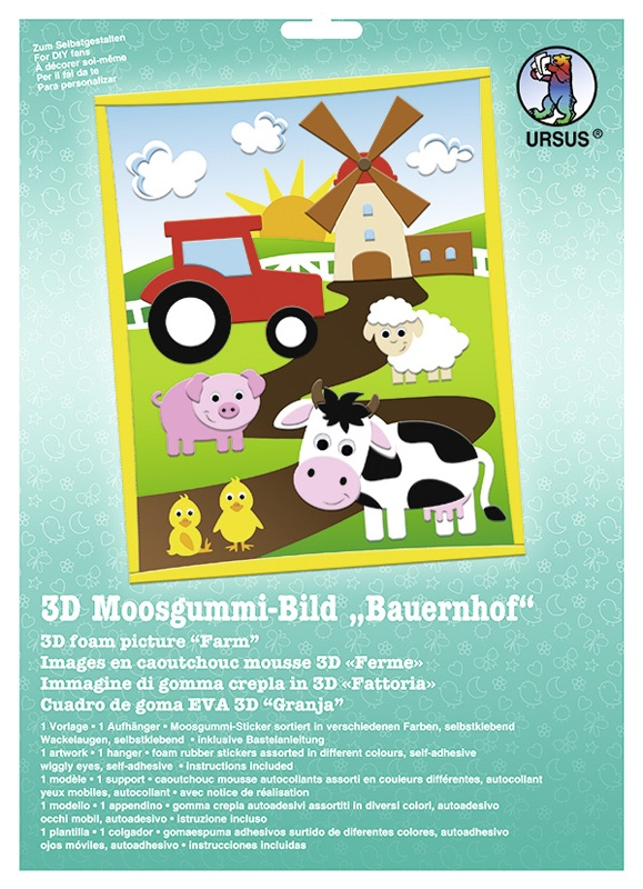 Bastelmappe Moosgummi-Bild 3D Bauernhof