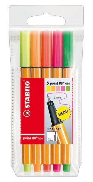 Stabilo Tintenschreiber point 88 mini 5Stück in Neonfarben