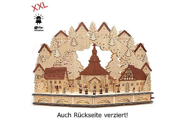 Schwibbogen Seiffener Kirche mit Bergmannfiguren 80 cm