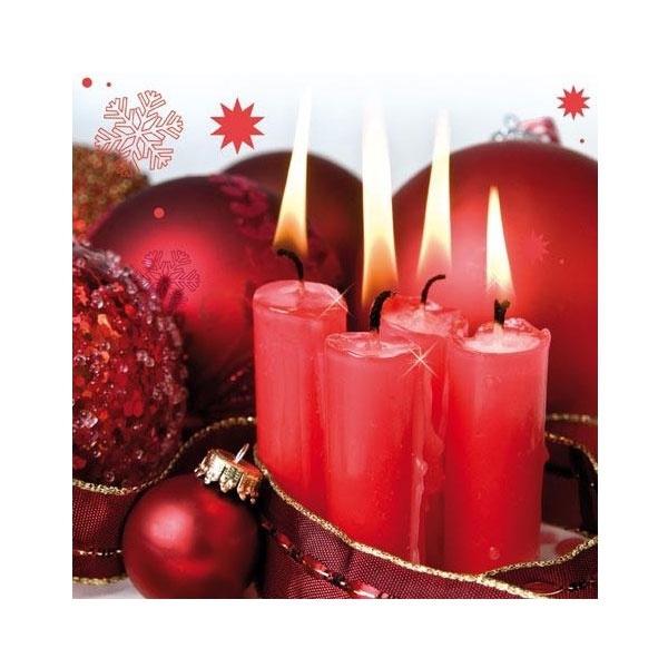 Servietten Weihnachten Cuatro velas Rojas