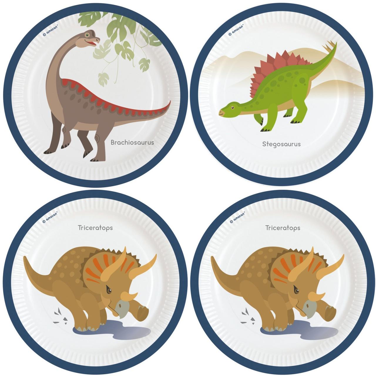 Partyteller Happy Dinosaur 8 Stück 23 cm Dino