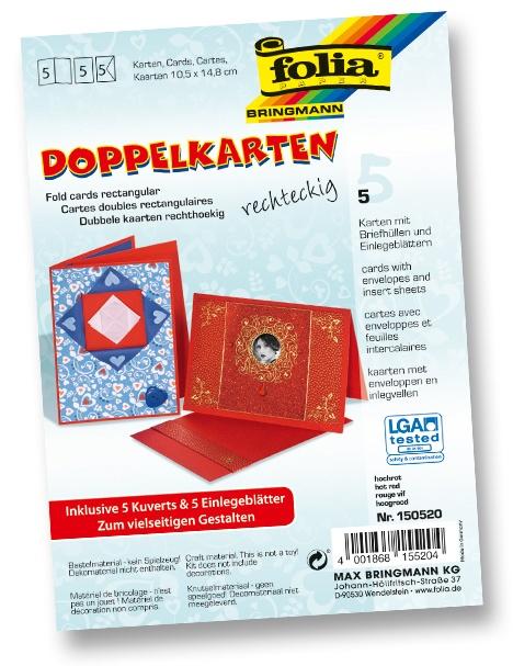 Folia Doppelkarten mit Umschlag hochrot