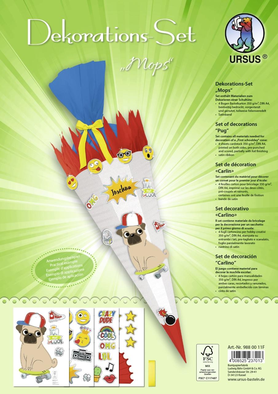 Bastelset Dekorations-Set für Schultüte Mops
