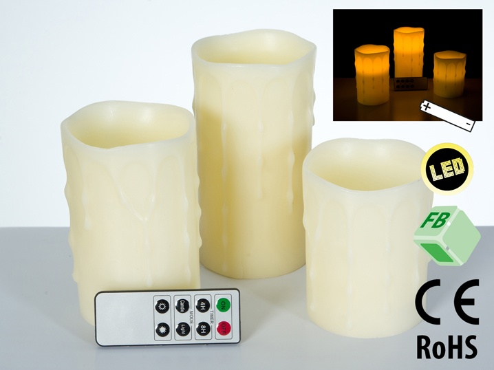 LED-Kerzen-Set mit Fernbedienung 3er